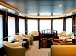 Electric window shades in a marine interior